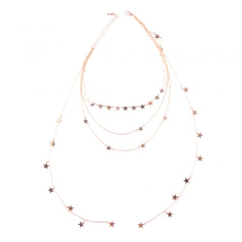 Collana 4 fili con stelle color oro