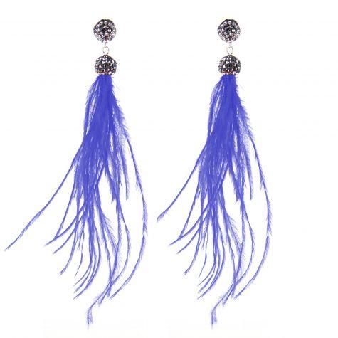 Orecchini lunghi con piume color blu
