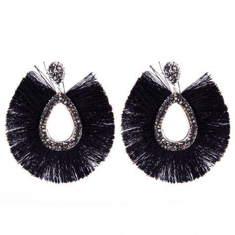 Orecchini nappine ovali macro con strass color nero