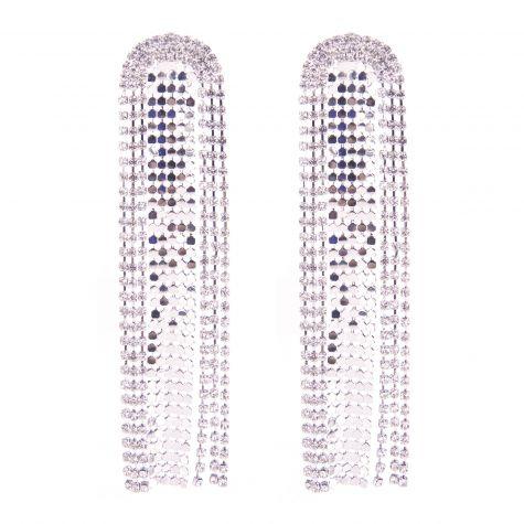 Orecchini mesh strass color argento