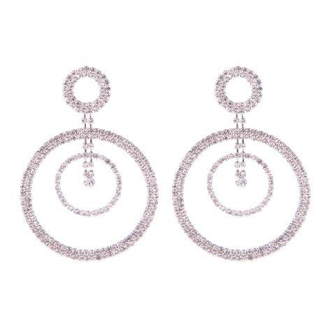 Orecchini cerchi strass macro color argento