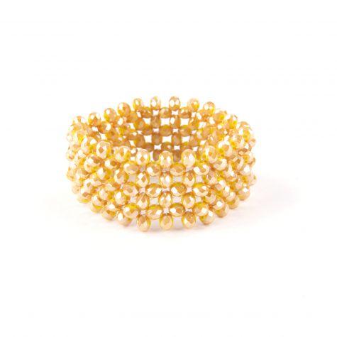 Bracciale elastico vetro intrecciato color giallo