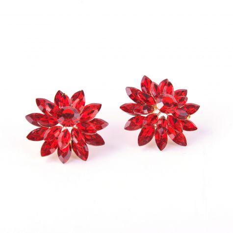 Orecchini rosone con pietre color rosso