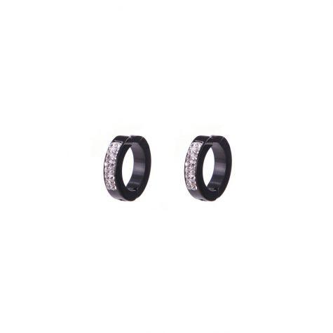 Orecchini anella acciaio fake 3 mm color nero con strass