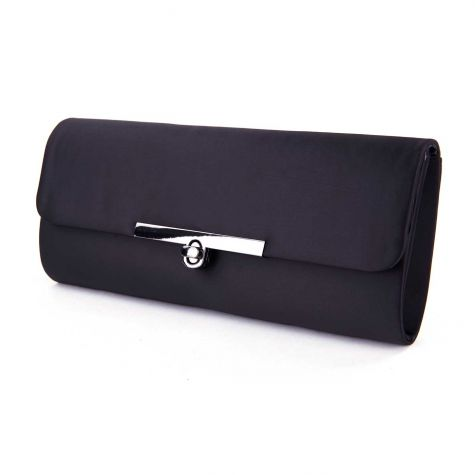 Pochette in raso color nero