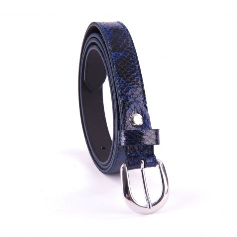 Cintura pitone color blu altezza 2 cm