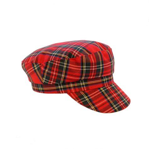 Cappello baker tartan rosso