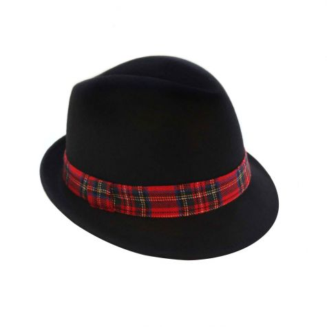 Cappello borsalino in lana con nastro scozzese rosso