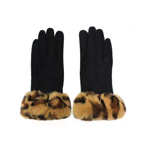 Guanti in lana con polso maculato