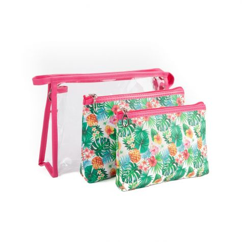 Set 3 beauty case con stampa tropicale