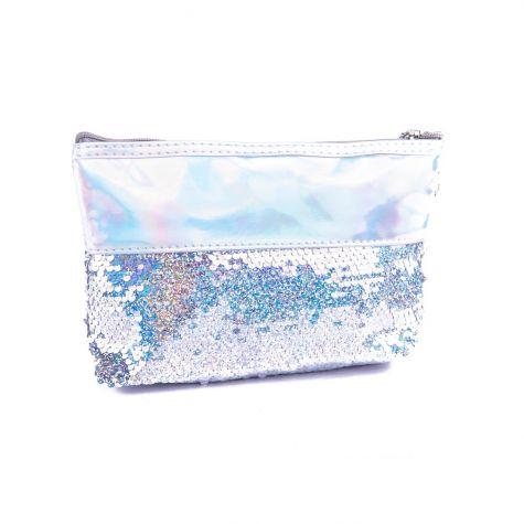 Beauty case cangiante con paillettes argento