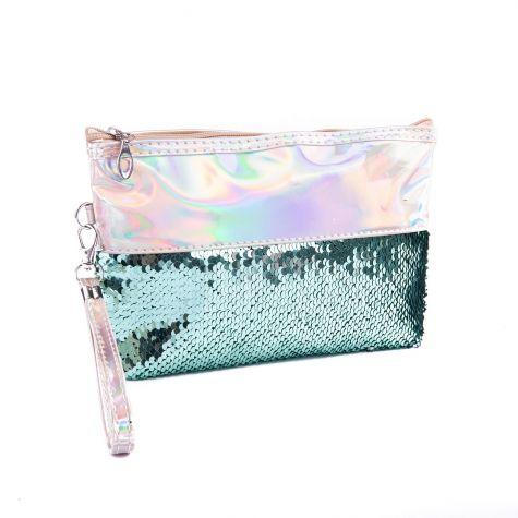 Beauty case cangiante con paillettes acqua marina