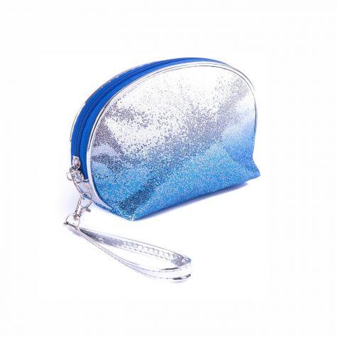 Beauty case mezzaluna glitterato color blu/argento