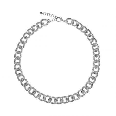 Collana catena in alluminio zigrinato color argento