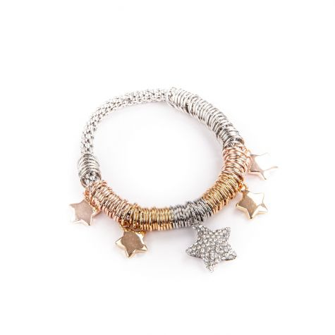 Bracciale elastico anellini con stelle pendenti - 3 ori