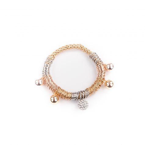 Bracciale elastico anellini con sfere pendenti