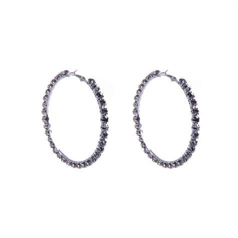 Orecchini cerchio con strass macro color nero