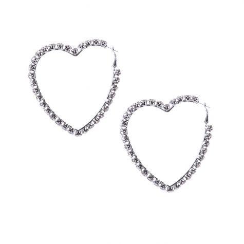 Orecchini anella con cuore macro ricoperti di strass