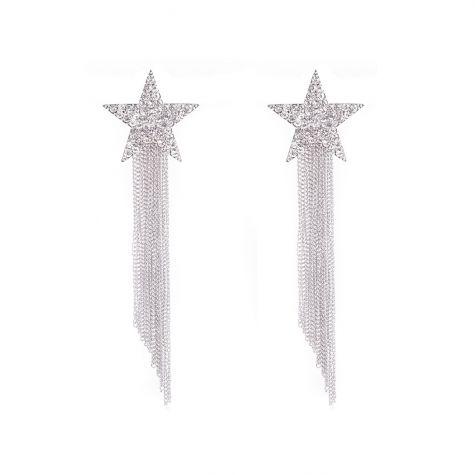 Orecchini stelle macro di color argento con metallo color rodio