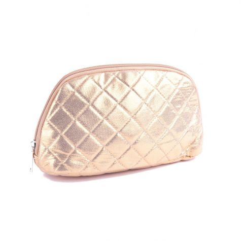 Beauty case mezzaluna trapuntato color oro metalizzato