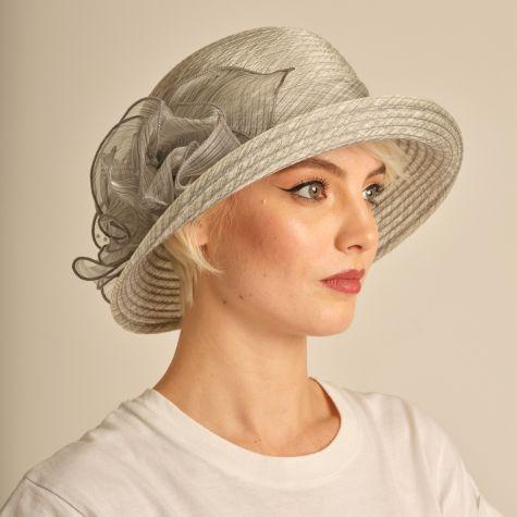 Cappello da cerimonia con fiocco color grigio