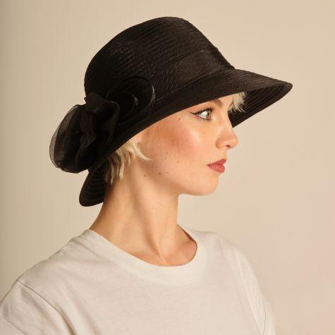 Cappello da cerimonia con fiocco color nero