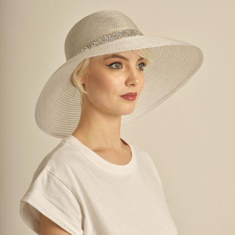 Cappello da cerimonia tesa larga con fascia strass argento