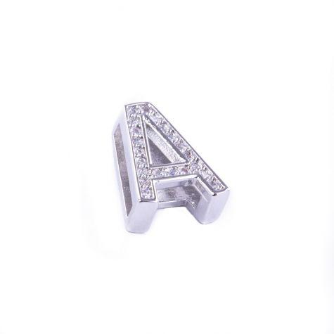 Ciondolo lettera A con zirconia cubica color argento