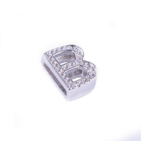 Ciondolo lettera B con zirconia cubica color argento