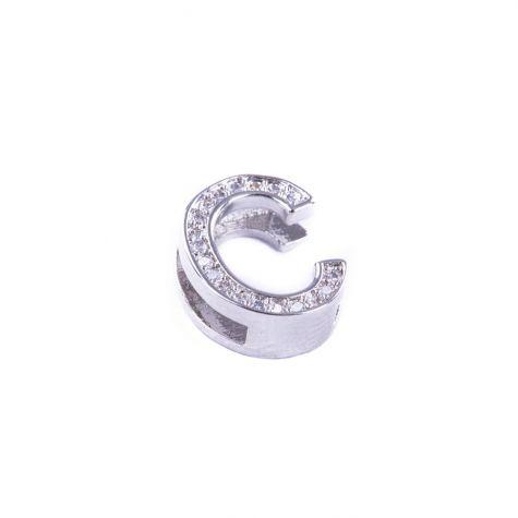 Ciondolo lettera C con zirconia cubica color argento