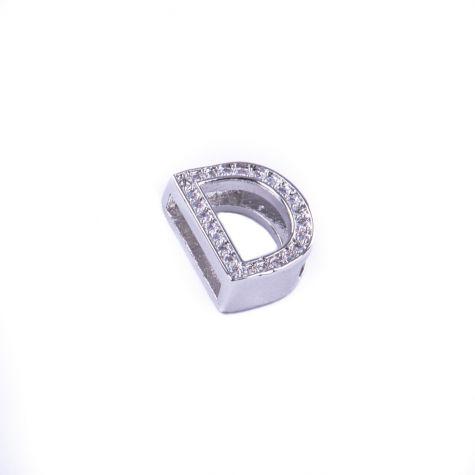 Ciondolo lettera D con zirconia cubica color argento