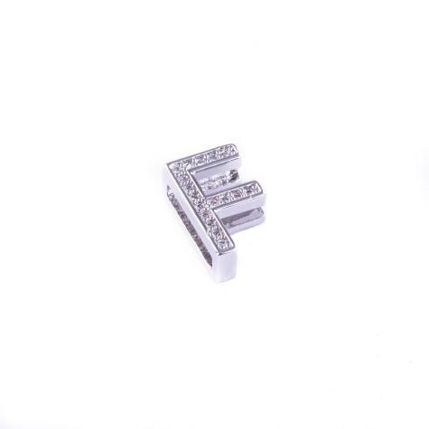 Ciondolo lettera F con zirconia cubica color argento