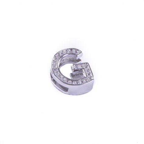 Ciondolo lettera G con zirconia cubica color argento