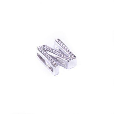 Ciondolo lettera N con zirconia cubica color argento