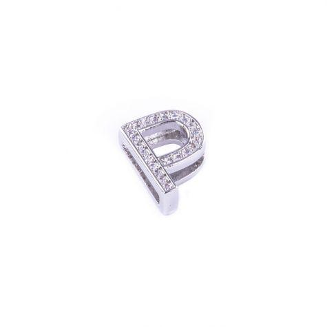 Ciondolo lettera P con zirconia cubica color argento
