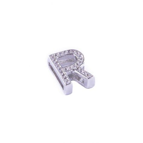Ciondolo lettera R con zirconia cubica color argento
