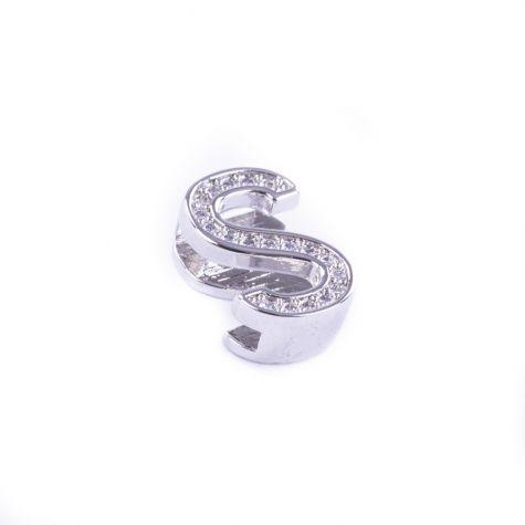 Ciondolo lettera S con zirconia cubica color argento