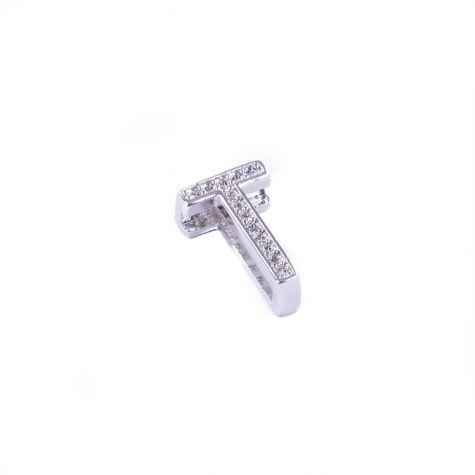 Ciondolo lettera T con zirconia cubica color argento