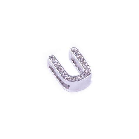 Ciondolo lettera U con zirconia cubica color argento