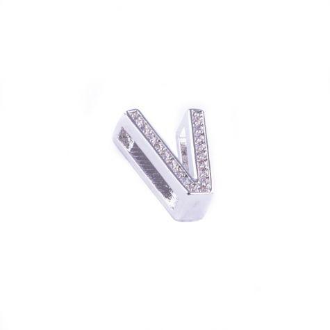 Ciondolo lettera V con zirconia cubica color argento