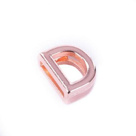 Ciondolo lettera D color oro rosato