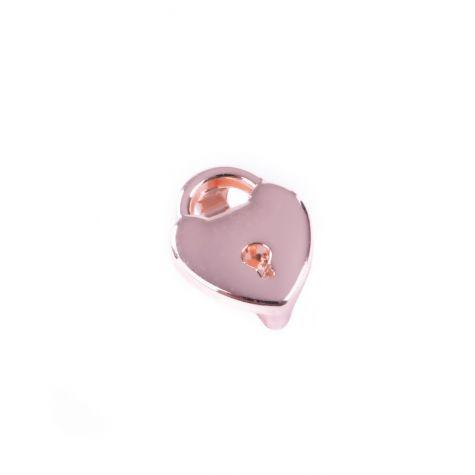 Ciondolo cuore con serratura color oro rosato