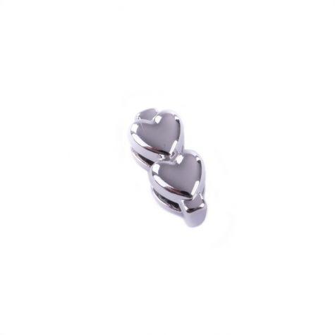 Ciondolo divisorio con doppio cuore color argento