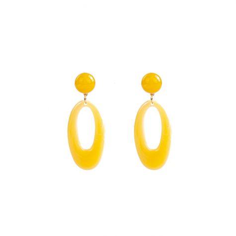 Orecchini ovali venati color giallo