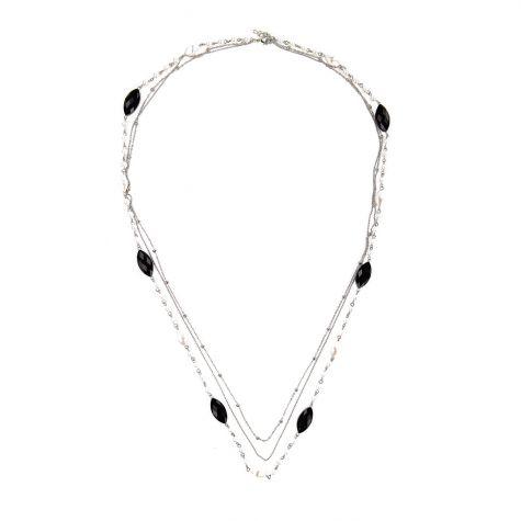 Collana lunga multifilo con perle e elementi sfaccettati