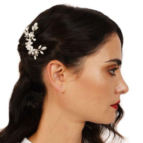 Forcina con rami e fiori di perle bianche e strass