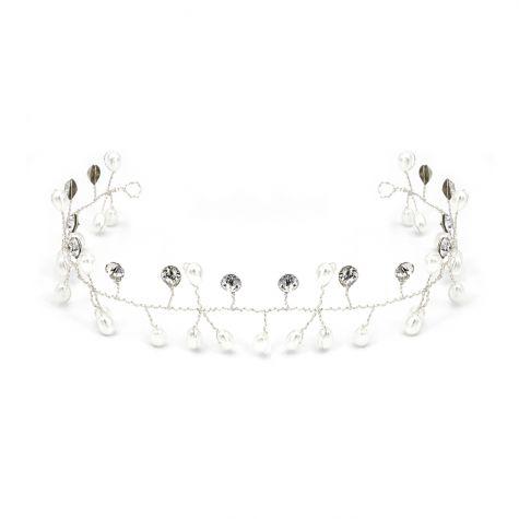 Decoro per acconciature con rami di perle bianche e strass