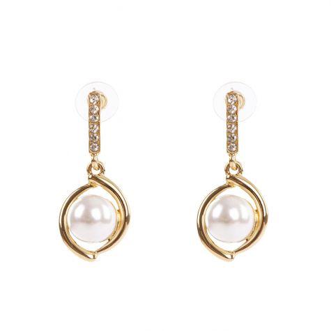 Orecchini color oro con perla e strass