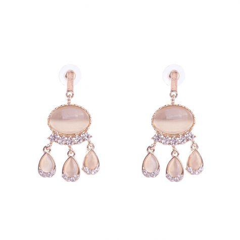 Orecchini ovale con goccia oro rosa