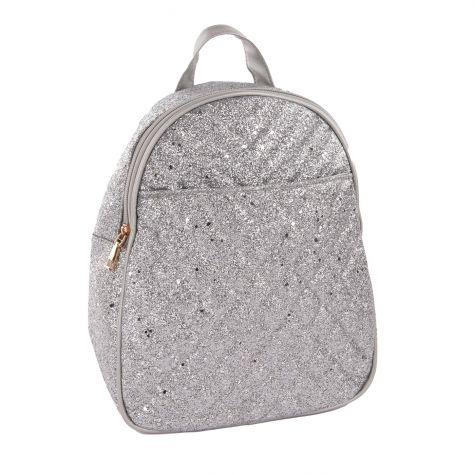 Zainetto trapuntato in glitter color argento